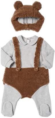 Il Gufo Bear Plush & Sweatshirt Romper W/ Hood