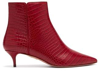 Aquazzura Editor 45 Crocodile Effect Leather Ankle Boots - Womens - Red