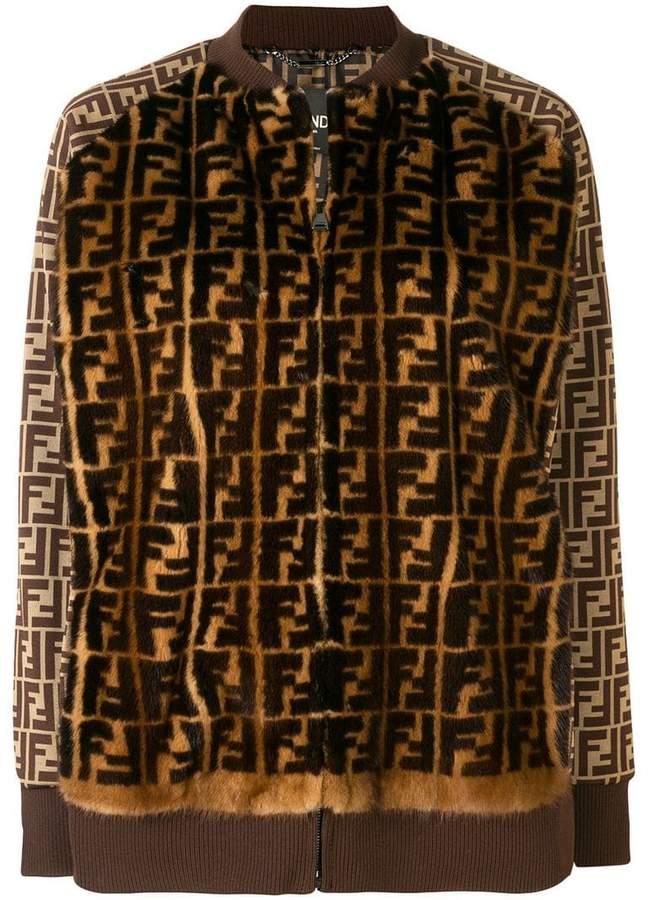 fur logo bomber jacket