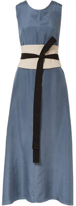 Brunello Cucinelli Canvas-trimmed Silk Maxi Dress - Blue