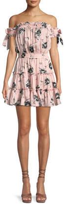 MISA Los Angeles Laiyin Floral-Print Off-the-Shoulder Ruffle Dress