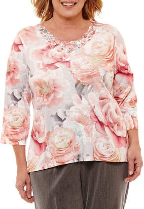 Alfred Dunner Lakeshore Drive 3/4 Sleeve Floral T-Shirt-Plus
