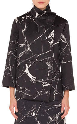 Akris Bracelet-Sleeve Marble-Tiles Jacquard Wool-Blend Jacket