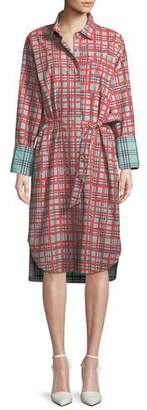 Burberry Isotto Check Contrast-Cuff Shirtdress