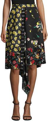 Derek Lam Asymmetrical Mixed Print Silk Skirt