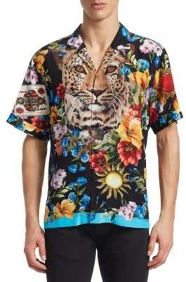 Dolce & Gabbana Tiger Short Sleeve Button-Front Shirt