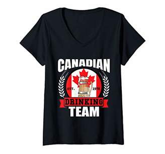 Womens Canadian Drinking Team Funny Canada Flag Beer Party Gift V-Neck T-Shirt