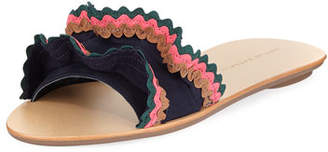Loeffler Randall Birdie Suede Flat Ruffled Sandal