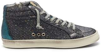 P448 'A8 Skate' glitter mesh patchwork high top sneakers