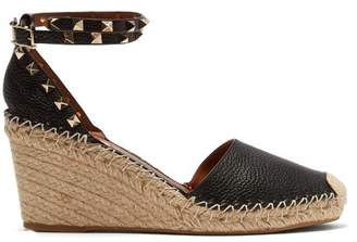 Valentino Rockstud Leather Wedge Espadrilles - Womens - Black