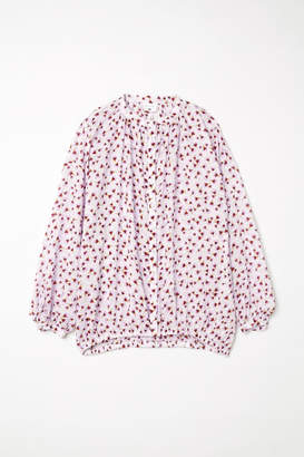 H&M Patterned Lyocell Blouse - Brown