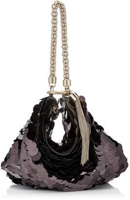 b6ffb02adbf54 Jimmy Choo CALLIE Black Velvet Clutch Bag with Maxi Paillette Embroidery