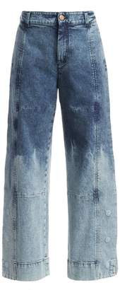 See by Chloe Two-Tone Acid Wash Wide Leg Jeans