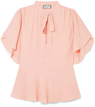 Paul & Joe Pimont Pussy-bow Crepe De Chine Peplum Blouse - Pastel pink