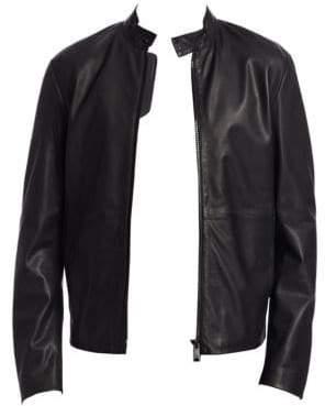 Emporio Armani Men's Leather Moto Jacket - Black - Size 50 (40)