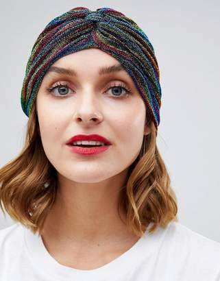 Asos DESIGN metallic rainbow knot front hat