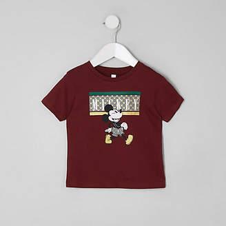 River Island Mini boys burgundy Micky Mouse T-shirt