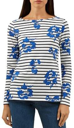 Hobbs London Raine Floral Print Striped Top