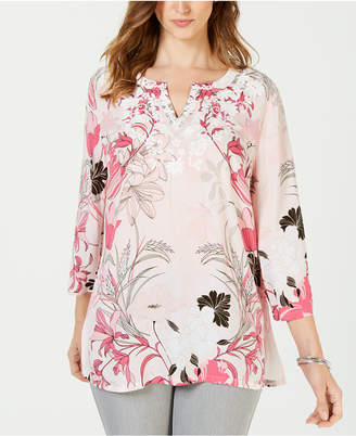 Charter Club Petite Floral-Print Embellished Top