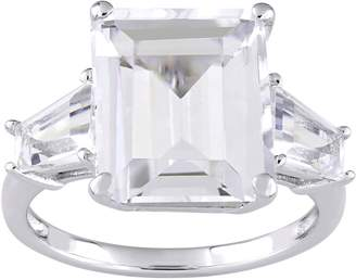Sterling Silver 8.90 cttw Emerald-Cut White Topaz 3-Stone Ring