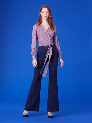 Diane von Furstenberg Pleat Front Linen Flare Pants