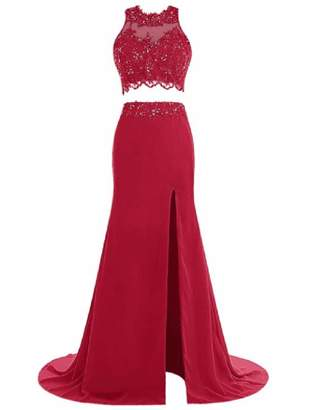 Angela Long Two Pieces Prom Party Dresses Appliques Beads High Slit Evening Gowns