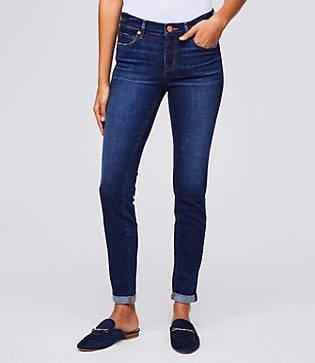 LOFT Curvy Skinny Crop Jeans in Rich Dark Indigo Wash