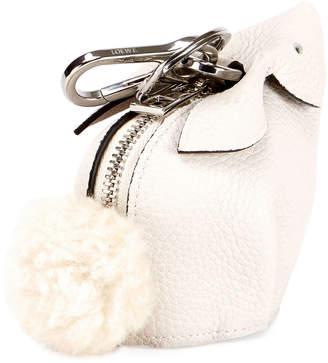 Loewe Leather Bunny Coin Purse w/Fur Pompom