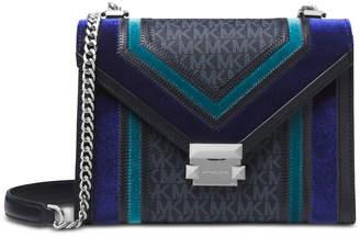 Michael Kors Whitney Tricolor Velvet Signature Shoulder Bag