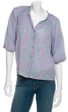 Tucker Smocked Silk Blouse