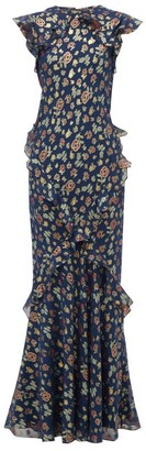 Saloni Tamara Floral Jacquard Silk Blend Maxi Dress - Womens - Navy Multi
