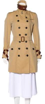 Burberry Leather Strap-Accented Trench Coat