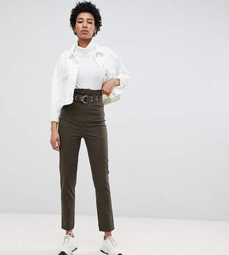 Asos Tall DESIGN Tall stevie high waisted peg pants with extra long belt in khaki