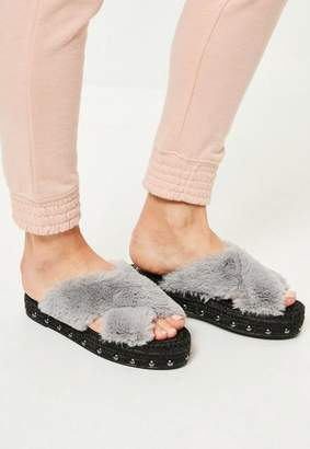 Missguided Faux Fur Cross Strap Studded Sliders