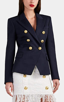 Balmain Women's Wool Gabardine Double-Breasted Blazer - Navy