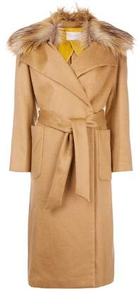 L'Autre Chose fur collar trench coat