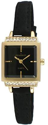 Peugeot Women's 14K Gold Plated Black Face Small Petite Faceted Crystal Thin Black Suede Band Luxury Watch 3047GBK