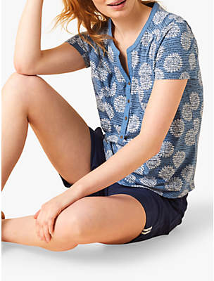 White Stuff Shiny Penny Jersey Shirt, Blue