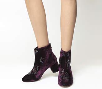 548df42f1e5 Office Arch Enemy Block Heel Boots Purple Velvet Multi Embellishment
