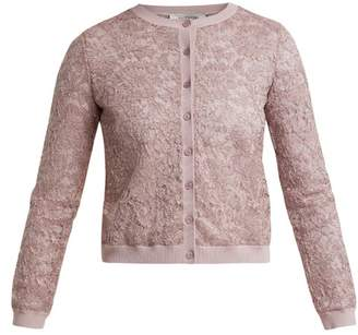 Valentino Round Neck Lace Cardigan - Womens - Light Pink