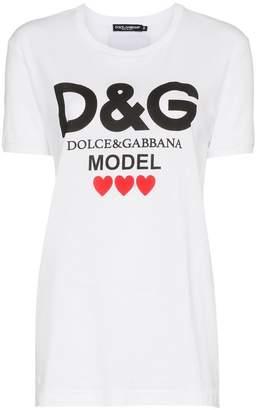 Dolce & Gabbana logo model print cotton t shirt