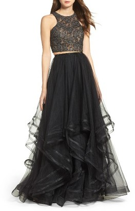 Women's La Femme Embellished Lace Two-Piece Gown $468 thestylecure.com