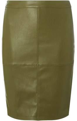 Dorothy Perkins Womens **Vila Khaki Faux-Leather Skirt