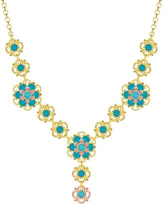 Swarovski Lucia Costin Silver, Blue, Turquoise Crystal Necklace with Dots