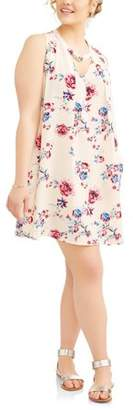 POOF Junior's Plus Sleeveless Floral Print Sun Dress