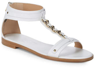 Salvatore Ferragamo Chained Leather Open Toe Sandal