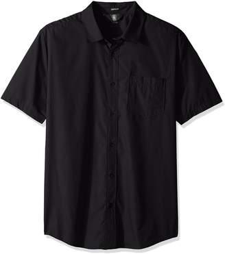 Volcom Men's Everett Solid Cotton Woven Short Sleeve Shirt