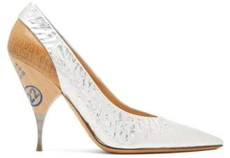 Maison Margiela Logo Print Wooden Heel Metallic Leather Pumps - Womens - Silver