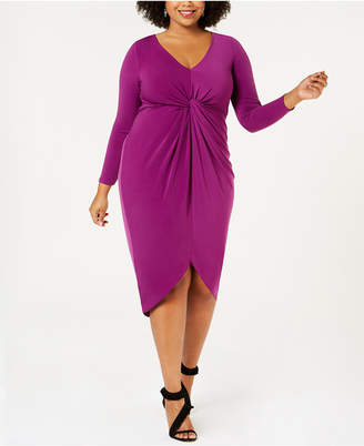Soprano Trendy Plus Size Twist-Front Bodycon Dress