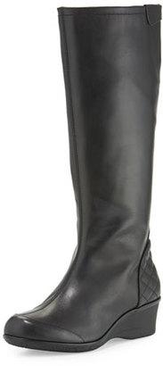 Taryn Rose Arst Waterproof Wedge Knee Boot, Black $270 thestylecure.com
